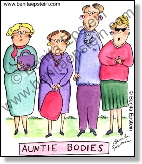 Funny science cartoon:  Title is Auntie Bodies.  There are four actual aunties standing instead of antibodies.